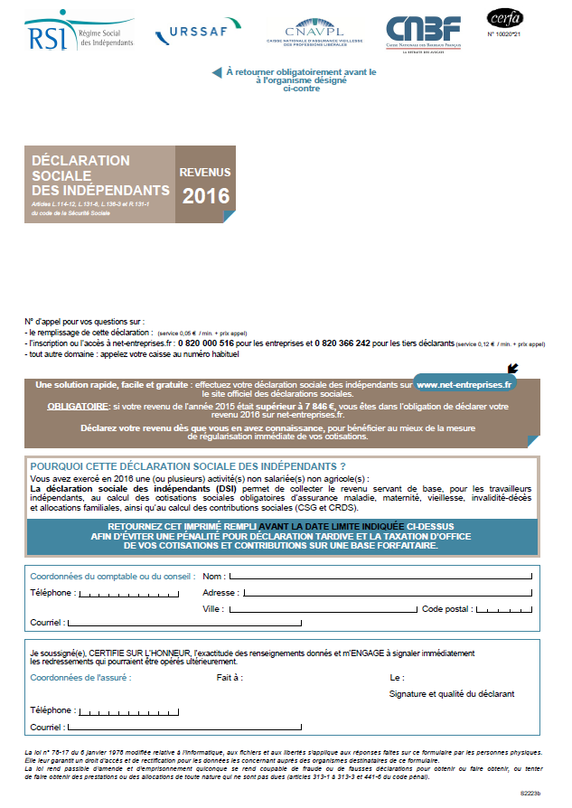 Actualite Declaration Sociale Des Independants 2016